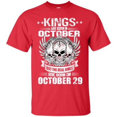October 29th Birthday T-Shirt For Men Real Kings Are Born