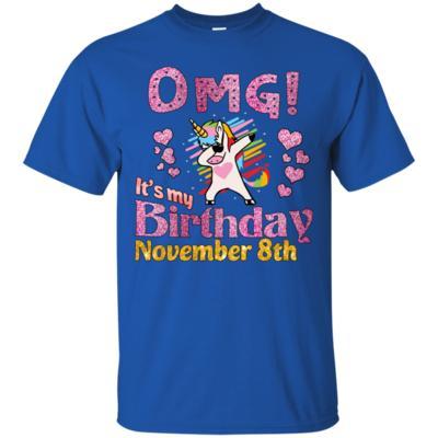 Unicorn Dabbing OMG It's My Birthday November 8th T-Shirt