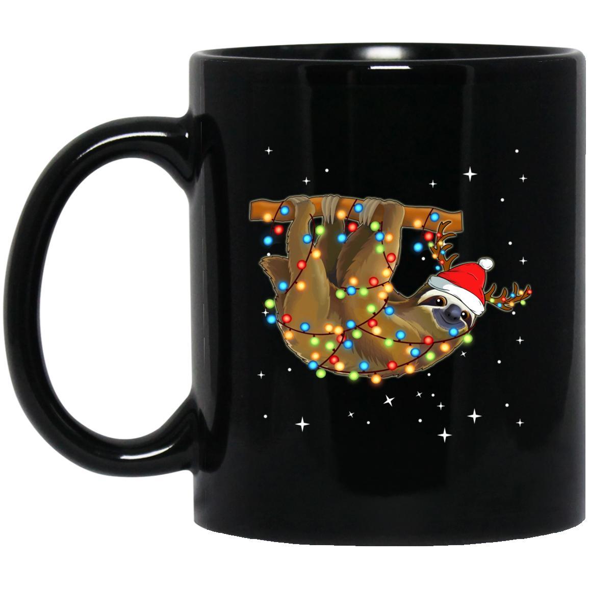 Christmas Lights Sloth Wearing Santa Hat Funny Xmas Mug
