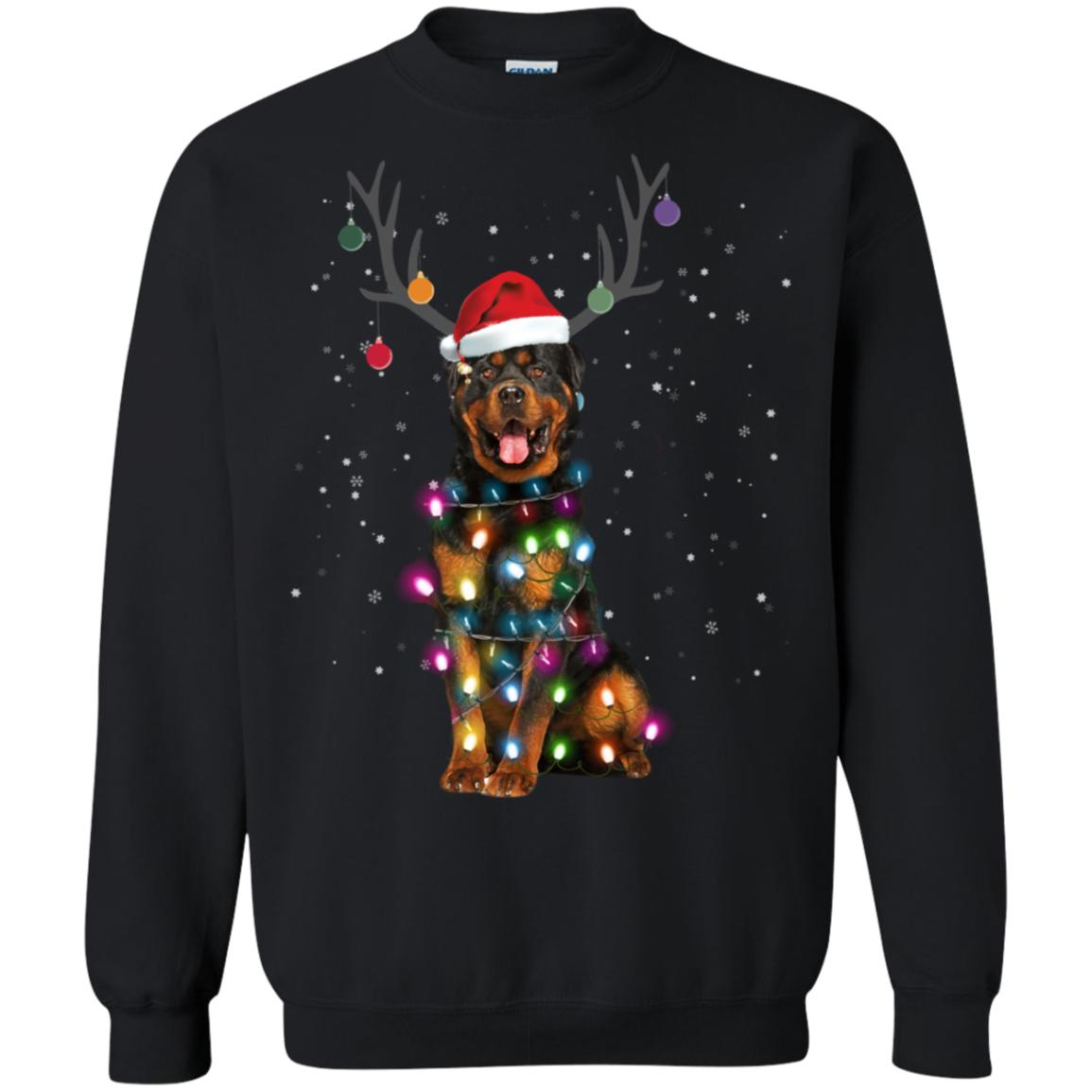 Rottweiler Santa Lights Christmas Dog Xmas Sweatshirt