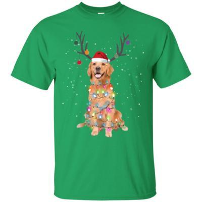 Golden Retriever Santa Lights Christmas Dog Xmas T-Shirt