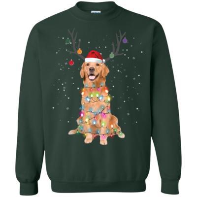 Golden Retriever Santa Lights Christmas Dog Xmas Sweatshirt