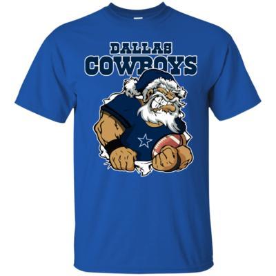 Grumpy Santa Claus Dallas Cowboys Football Team T-Shirt