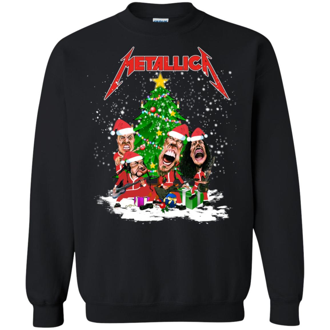 Christmas Tree and Metallica Rock Band Merry Xmas Sweatshirt