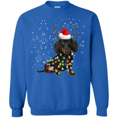 Dachshund Santa Lights Christmas Dog Xmas Sweatshirt