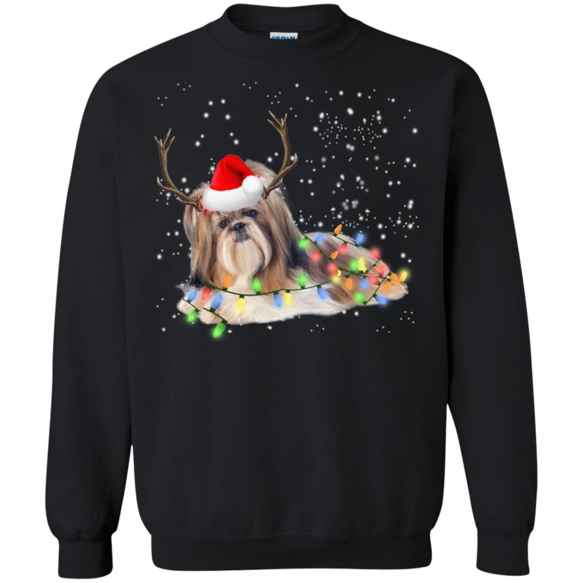 Shih Tzu Santa Lights Christmas Dog Xmas Sweatshirt