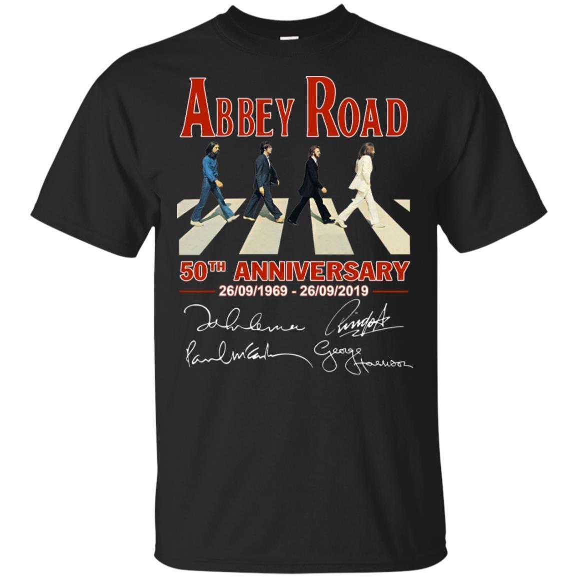 Abbey Road 50th Anniversary The Beatles T-shirt Signatures 1969-2019 LT05
