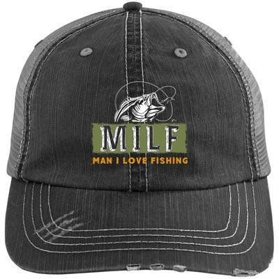 MILF Man I Love Fishing Distressed Cap Hat Fishing Lover