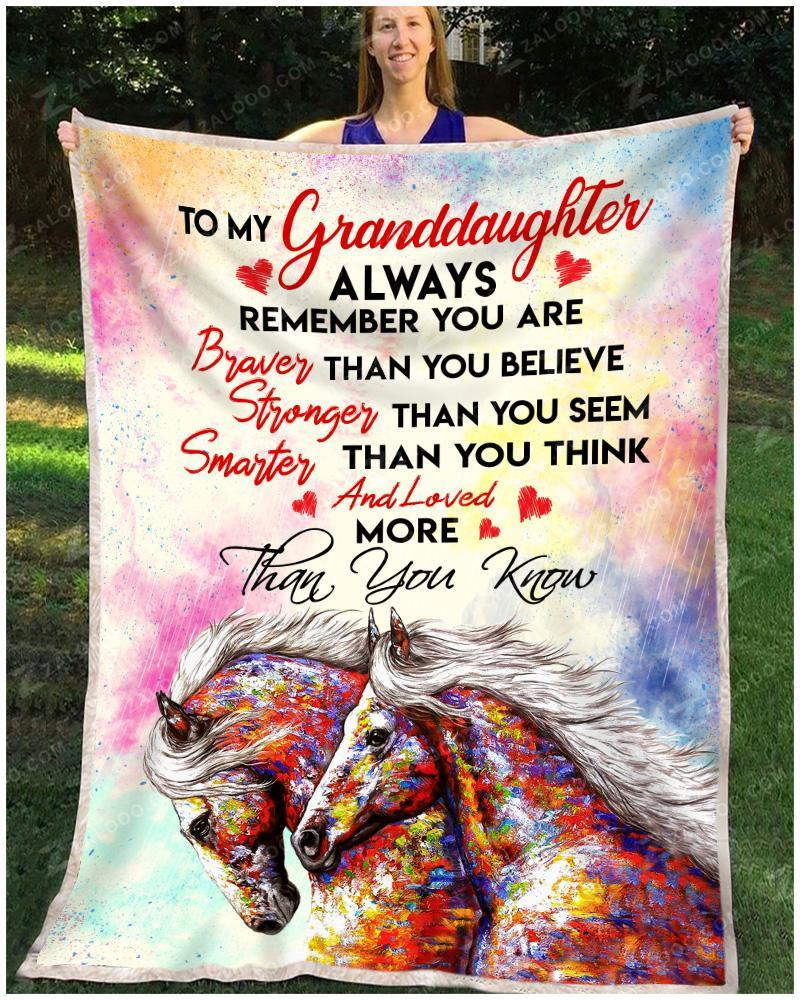 Limited edition Horse to my granddaughter always remember you are braver blanket