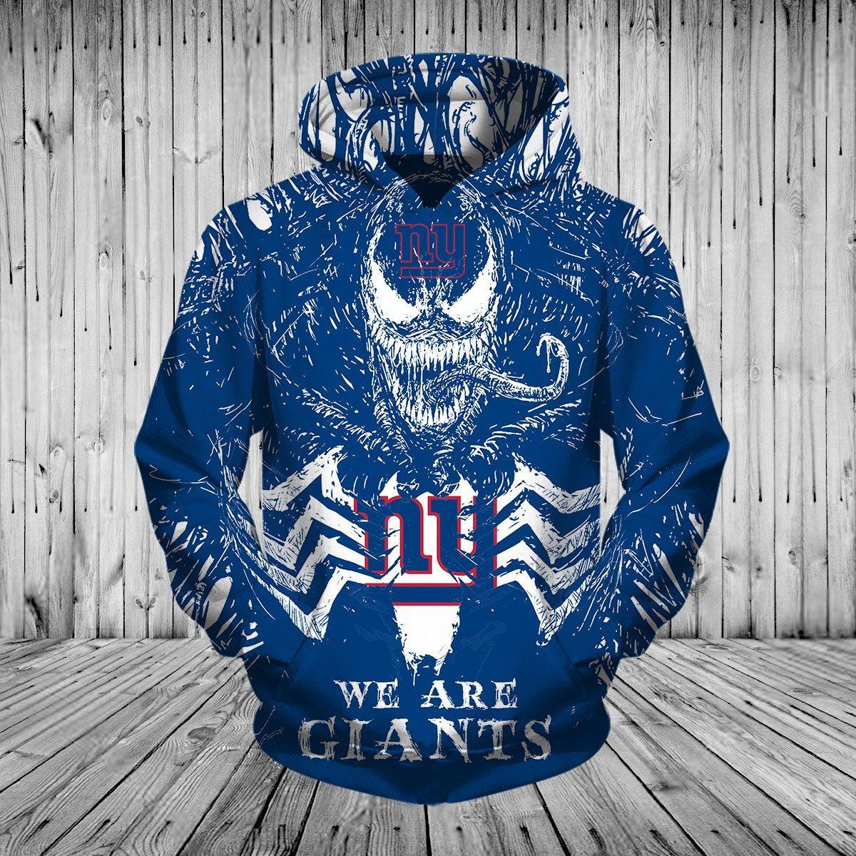 Women'-s New York Giants Hoodie 3d Venom Pullover Hoodies