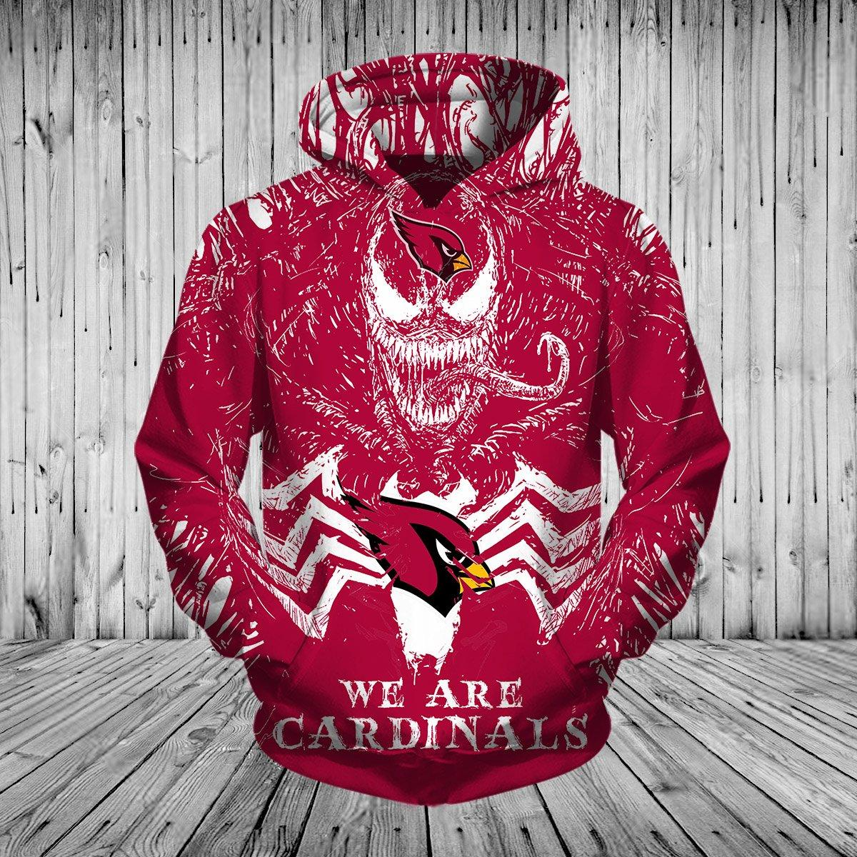 Arizona Cardinals Hoodies 3d Venom Pullover Hoodies