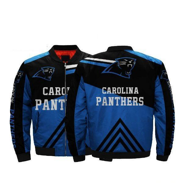 20% Off Nfl Football Men'-s Bomber Jacket Carolina Panthers Jacket Coats