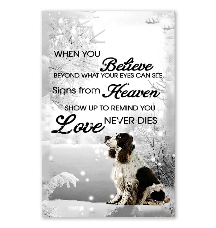 When you believe beyond what eyes can see sign from heaven show up to  remind Love never dies English Springer Spaniel in snow poster