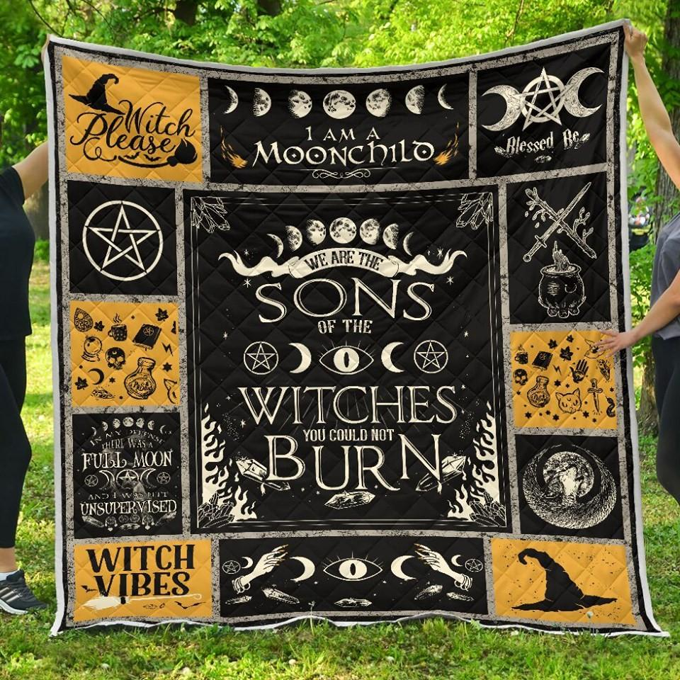 we are sons of witches you could not burn moonchild witch halloween quilt blanket