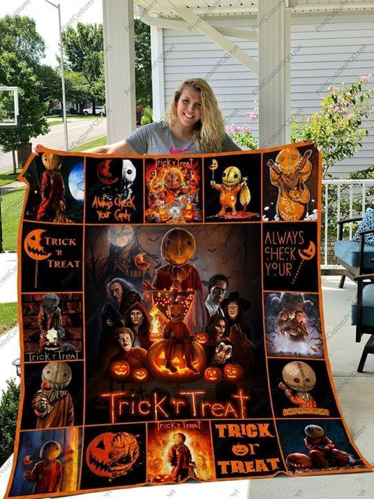 trick or treat always check your candy sam halloween quilt blanket