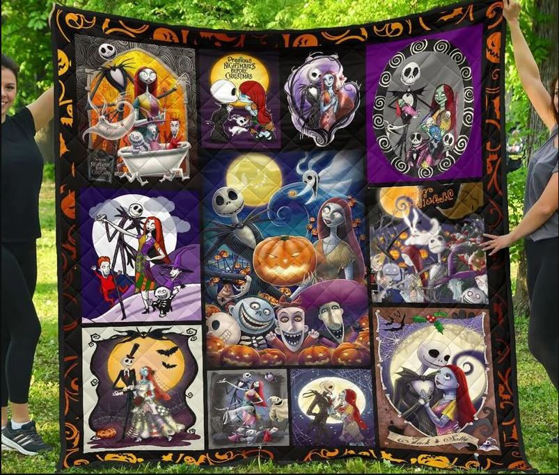 jack skellington and sally night before christmas halloween quilt blanket
