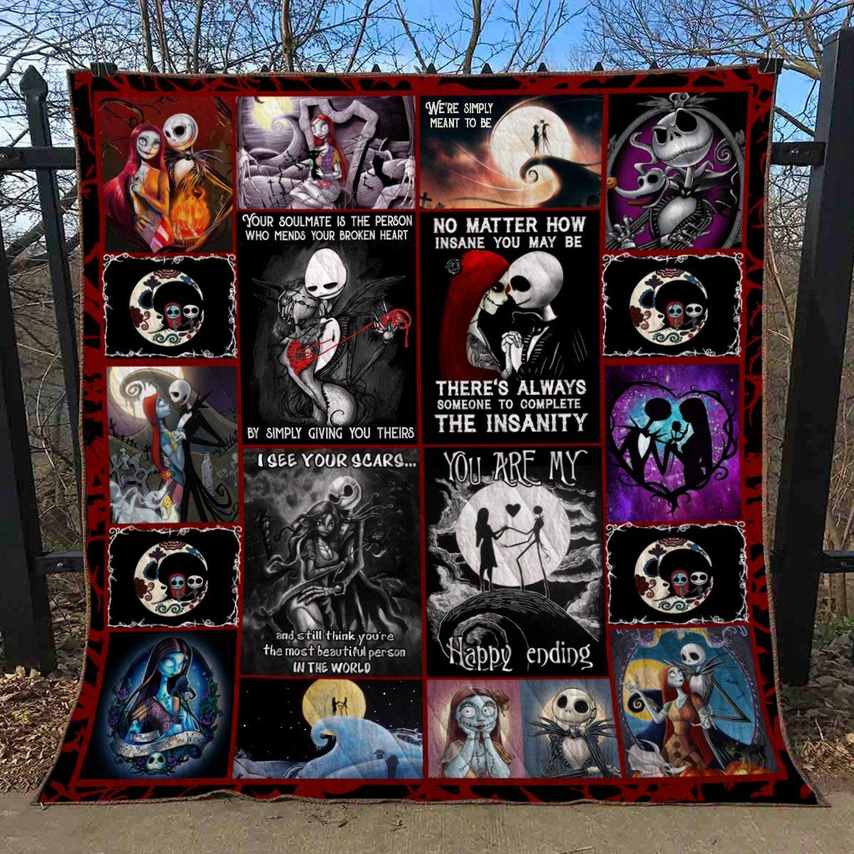 jack skellington and sally you are my happy ending love halloween horror quilt blanket