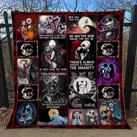 jack skellington and sally love you are my happy ending halloween quilt blanket