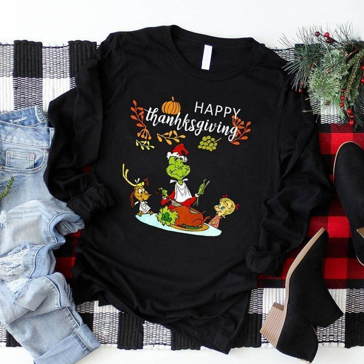 happy thanksgiving grinch with turkey thanksgiving party sweatshirt