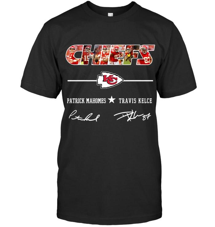 Kansas city chiefs patrick mahomes trvis kelce signed t shirt