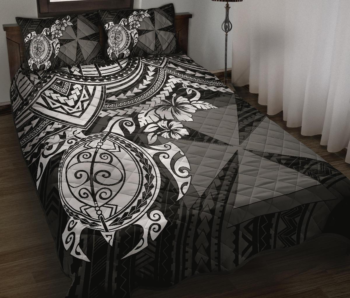 Wallis and Futuna Polynesian Quilt Bed Set - White Turtle - BN1518