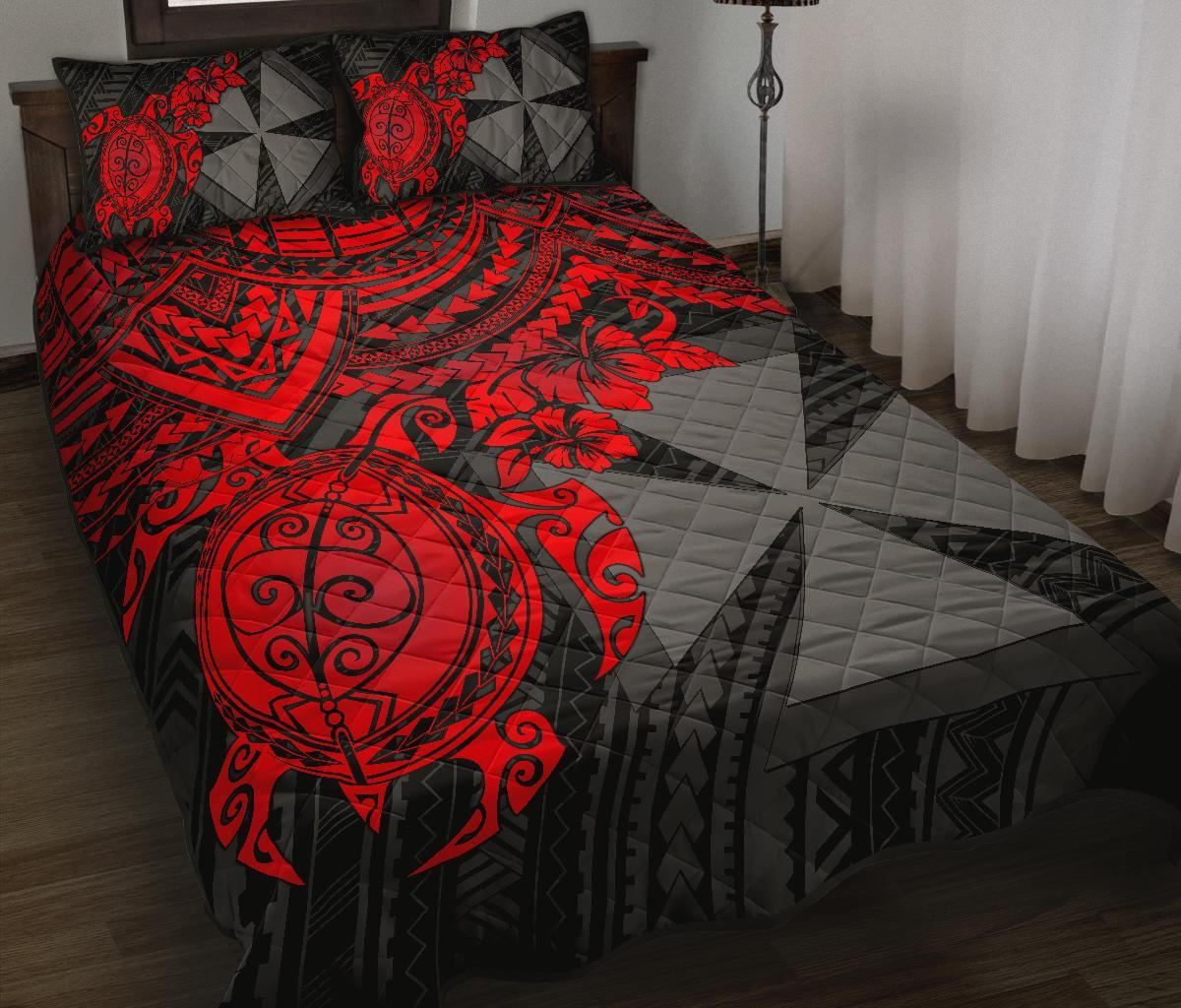 Wallis and Futuna Polynesian Quilt Bed Set - Red Turtle - BN1518