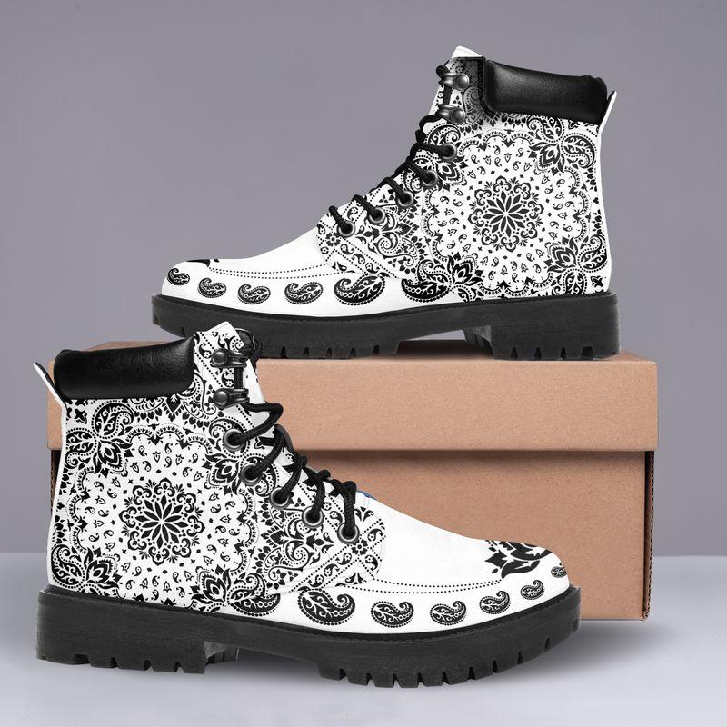 Shirtnamepro Bandana Limited Edition Classic White Leather Boots Pod New013801